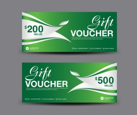 Christmas gift voucher card green vector material 07
