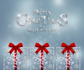 Christmas jewelry decor with new year decoration and red bows vector 01