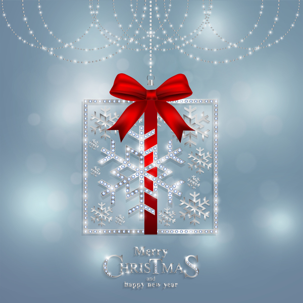 Christmas jewelry decor with new year decoration and red bows vector 02
