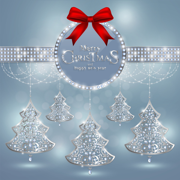 Christmas jewelry decor with new year decoration and red bows vector 03