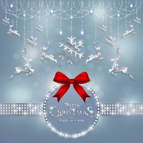 Christmas jewelry decor with new year decoration and red bows vector 04