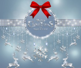 Christmas jewelry decor with new year decoration and red bows vector 05