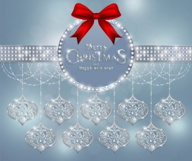 Christmas jewelry decor with new year decoration and red bows vector 07