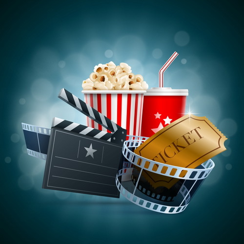 Cinema background with popcorn snacks vector 01