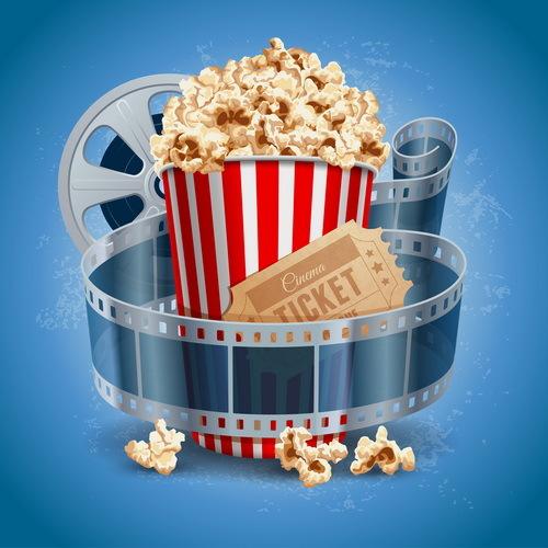 Cinema background with popcorn snacks vector 02