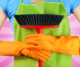 Cleaner woman ready Stock Photo