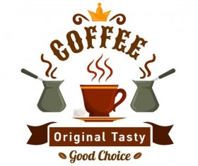 Coffee label vintage design vector 05