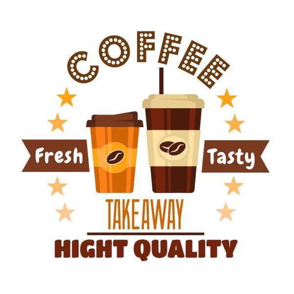 Coffee label vintage design vector 06