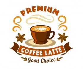 Coffee label vintage design vector 07