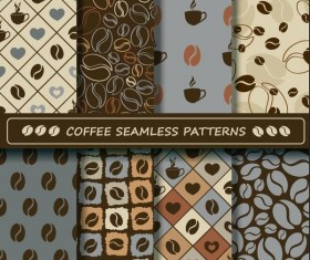 Coffee vector pattern set 04