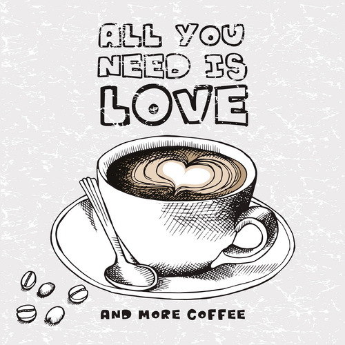 Coffee with Love black and white vector