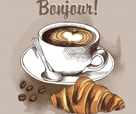 Coffee with croissant retro vector