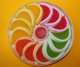 Color fruit sugar wobble plate Stock Photo