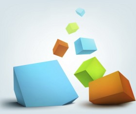 Colored 3D cube modern background vector