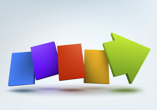 Colored arrow 3D background vector