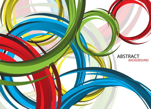 Colored circles with abstract background vector