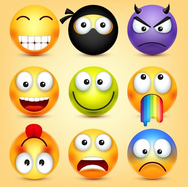 Colored funny expression icons set