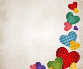 Colored hearts background vector