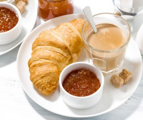 Croissant and hot espresso Stock Photo