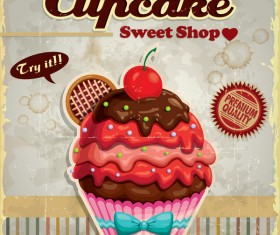 Cupcake sweet shop poster vector