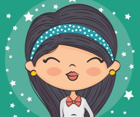 Cute cartoon girls with stars background vector
