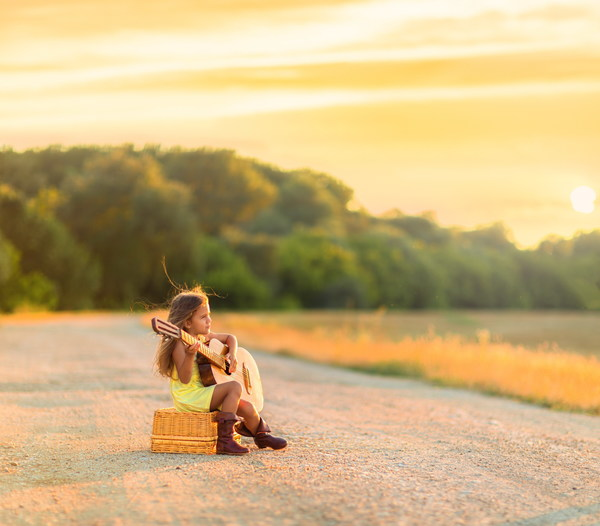Cute Little Girl Playing Guitar Stock Photo Free Download
