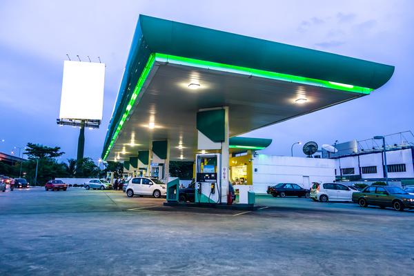 Dawn gas station Stock Photo