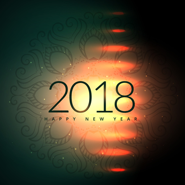Decor pattern with 2018 new year background vector