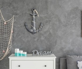 Decorate crew home with fishing nets Stock Photo