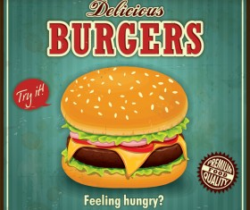 Delicious burgers poster template vector
