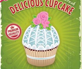 Delicious cupcake poster retro vector