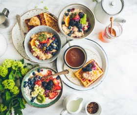Delicious fruity cuisines breakfast Stock Photo