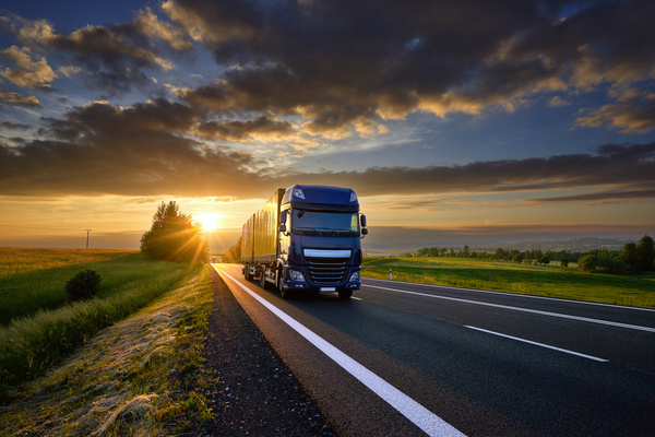 Delivery Trucks on the highway morning Stock Photo 01