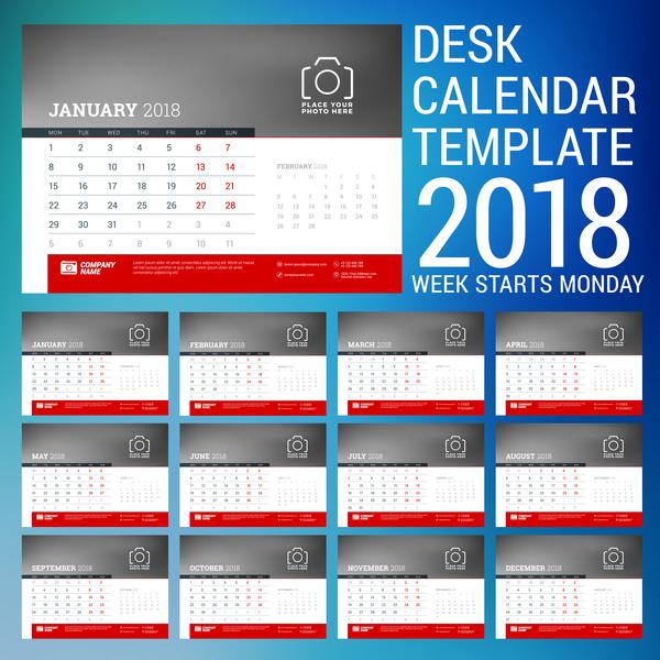Desk calendar template 2018 vector 01