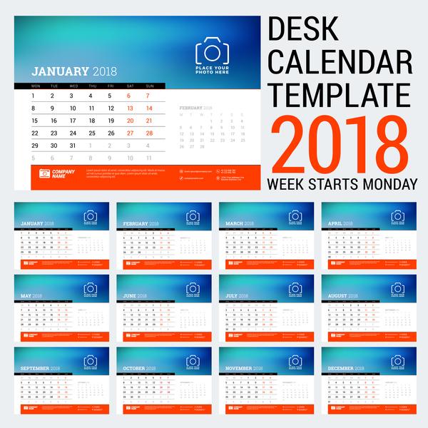 Desk calendar template 2018 vector 02