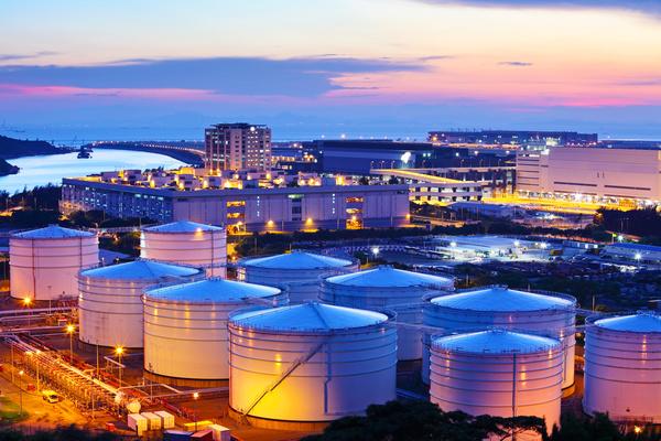 Oil tank during sunset
