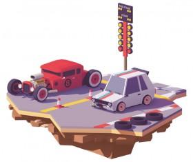 Drag race between hot rod car and hot hatchback vector