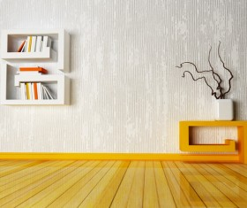 Dry branches decoration and wall shelves Stock Photo