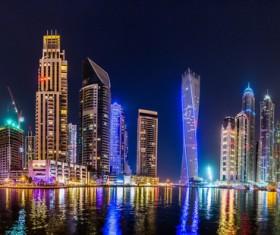 Dubai modern city night scene Stock Photo 01