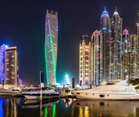 Dubai modern city night scene Stock Photo 02
