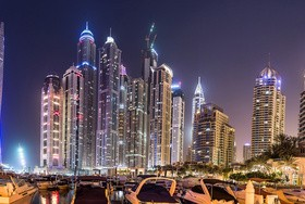 Dubai modern city night scene Stock Photo 03