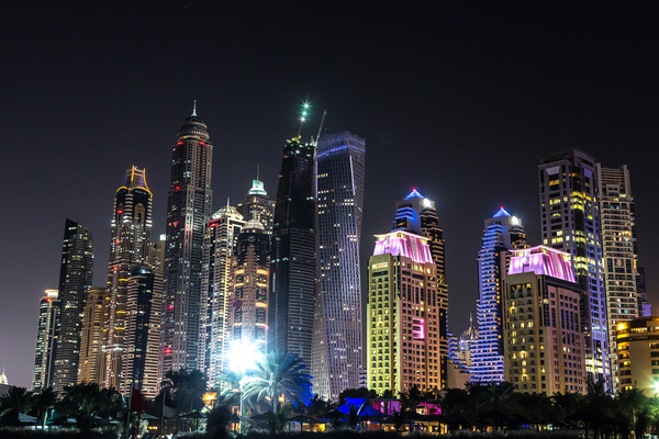 Dubai modern city night scene Stock Photo 04