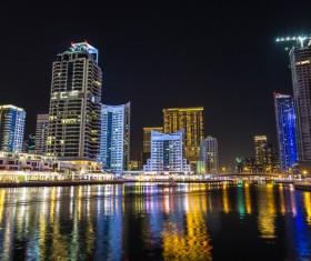 Dubai modern city night scene Stock Photo 05