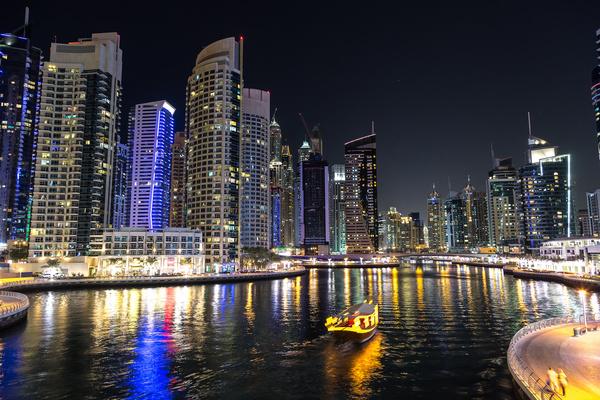 Dubai modern city night scene Stock Photo 06