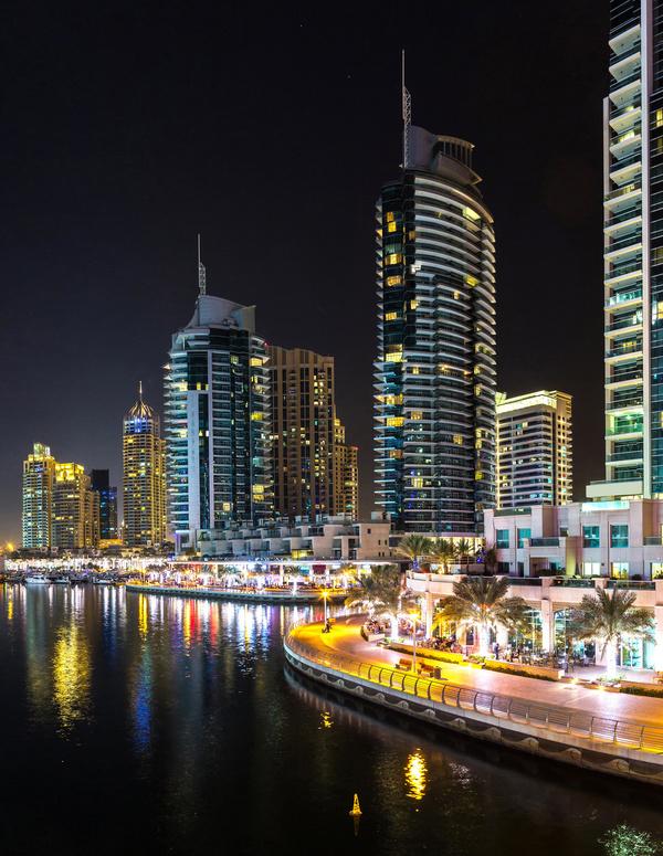 Dubai modern city night scene Stock Photo 07