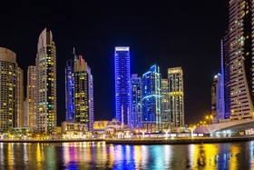 Dubai modern city night scene Stock Photo 08