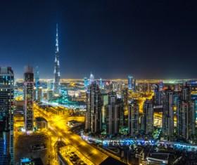 Dubai modern city night scene Stock Photo 09