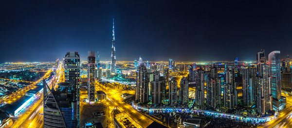 Dubai modern city night scene Stock Photo 09