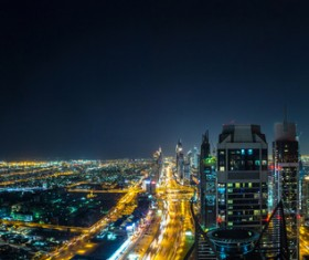 Dubai modern city night scene Stock Photo 10