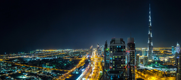 Dubai modern city night scene Stock Photo 10